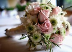 Pink and Green wedding bouquet...made last minute due to wedding disaster.