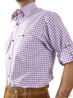 Almbock Trachten Shirt Mens CheckSlim-Fit Men/'s Shirt Dark Blue Check