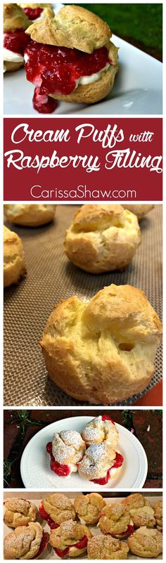 Cream Puffs with Raspberry Filling: fun baking project to involve the kids in making!