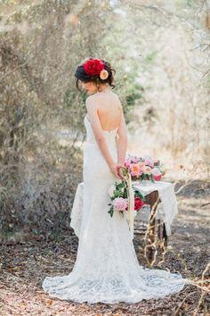 Romantic Lace Wedding Dress and Peony Bridal Hair Adornment | Allen Tsai Photography on @CVBrides via @aislesociety
