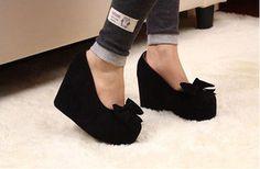 Ladies Wedges Sweet Bowties Solid Color Round Toe Platform High Heels Shoes US