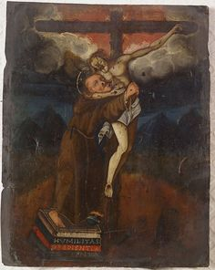 """Unknown artist (Flemish). """"The Crucifixion."""" Oil on copper. Circa 16th or very early 17th century. 14.6"""" x 12.6"""" (framed), 9.2"""" x 7.2"""" (unframed). Sold 475 USD."""