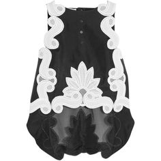 Antonio Berardi Lace-appliquéd silk-satin and silk-organza top (€1.920) ❤ liked on Polyvore featuring tops, lace top, lace sleeveless top, antonio berardi, lacy tops and sleeveless tops