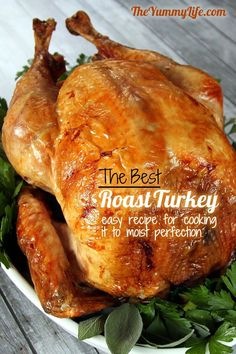 Step-by-Step Guide to The Best Roast Turkey. A tried-and-true recipe for making a perfectly cooked and roasted Turkey moist turkey every time. Detailed photos & tips take away the guesswork for beginner and experienced cooks. From The Yummy Life. Best Roasted Turkey, Baked Turkey, Best Turkey Brine, Turkey Rub, Butterball Turkey, Cooking Recipes, Healthy Recipes, Cooking Tips, Cooking Games