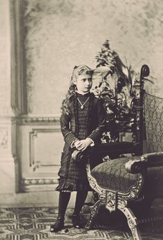 Alix of Hesse (1872-1918), granddaughter of Queen Victoria, in mourning for her mother, ca. 1880. She grew up to be tsarina Alexandra Feodorovna of Russia.