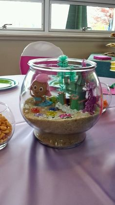 Mini Molly Plush from Toys R Us Everythinge else from Wal-Mart Bubble Guppies Centerpiece Ideas Bubble Guppies Birthday Party