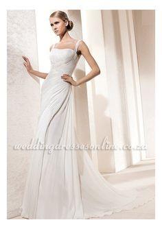 Chapel Train Chiffon Cheap 2011 New Wedding Dress with Ruffles and Beading ZA2217  $403.64