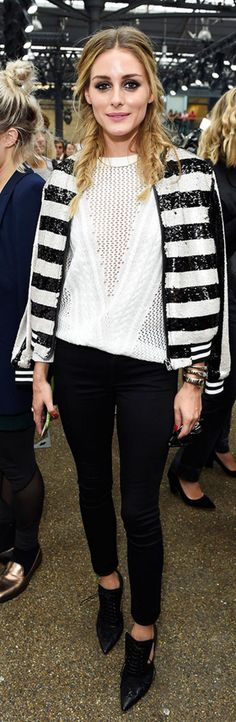 Who made  Olivia Palermo's black stripe sweater and white sweater?