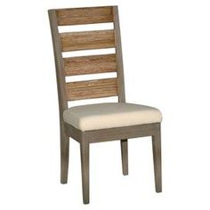 Handcrafted side chair with a slatted back.  Product: Side chairConstruction Material: WoodColor: Natural and creamFeatures:  HandcraftedSlatted back Dimensions: 41 H x 19 W x 22 D