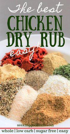 A low carb dry rub recipe that is perfect for grilled chicken and pork. This homemade keto dry rub recipe for chicken is so easy to make and adds so much flavor to your BBQ! Make this healthy recipe at your next cookout or barbecue! This chicken dry rub i Grilled Chicken Seasoning, Chicken Spices, Chicken Marinades, Pork Seasoning, Homemade Marinades For Chicken, Best Seasoning For Chicken, Whole Chicken Recipes Oven, Beer Can Chicken, Chicken Dips