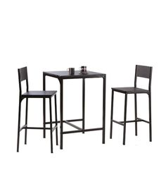Industrial Style Bar Table Set Two Stools Contemporary Breakfast Bar Dining  Set