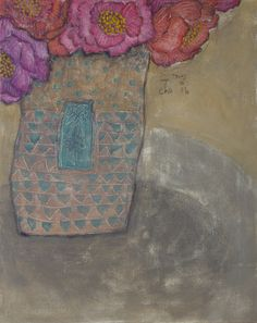 """Soojung Cho, peonies in vase, acrylic on canvas, 20""""x16"""""""