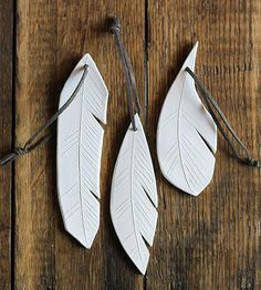 Ceramic Feather Ornament Trio