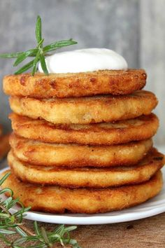 """""""Crisp on the outside and moist within, these pancakes are a great way to use leftover mashed potatoes after a big holiday meal (or make them for the meal!). Make the most of Thanksgiving leftovers with this easy mashed potato pancakes recipe."""""""