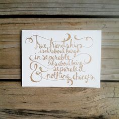 True Friendship Hand Lettered Card, Custom Stationary, Hand Drawn Card