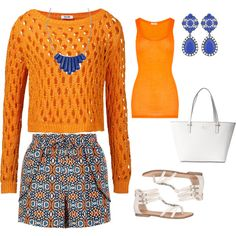 Orange and Blue by onceuponamersuperwholock on Polyvore featuring polyvore, fashion, style, Moschino Cheap