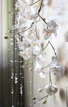 Купить Тропическое утро - белый, орхидеи, орхидея, фаленопсис, орхидея фаленопсис, decoclay, интерьерное украшение