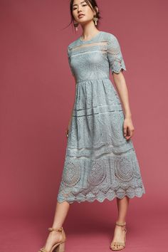 Mint Lace Midi Dress | Anthropologie