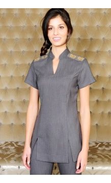 The madri beauty salon tunic reflects the style of for Spa uniforms johannesburg