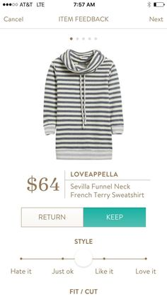 Loveappella Sevilla Funnel Neck French Terry Sweatshirt - would love some cozy, casual fall shirts!