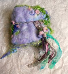 felted wool journal art book  - enchanted forest art diary -  dragonfly twilight fantasy journal