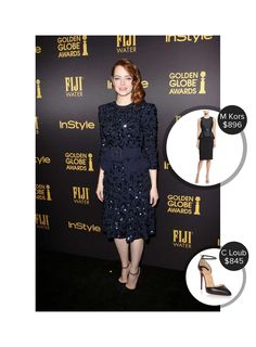 Emma Stone Hollywood Foreign Press and Instyle Golden Globes Celebration - seen in Christian Louboutin and Michael Kors. #christianlouboutin #michaelkors  #emmastone @mode.ai
