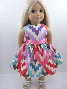 Beautiful Colors Doll Dress for the American Girl Doll