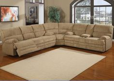3 pc Denton Hazel cordy fabric upholstered sectional sofa with recliners and center console Brown Sectional, Sectional Sofa With Recliner, Reclining Sectional, Chaise Sofa, Sofa Chair, Recliners, Curved Sectional, Loveseats, Couches