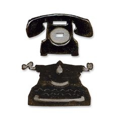 Sizzix.com - Sizzix Movers & Shapers Magnetic Die Set 2PK - Vintage Telephone & Typewriter Set