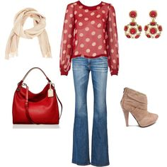 """Red Polka Dot Casual Friday Jeans Outfit"" by ggdesigns on Polyvore"