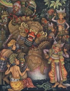 Items similar to Ubud Bali Painting Traditional Barong Dance Calonarang Topeng Balinese Art Acrylic on Canvas Original Hand Painted By Artist on Etsy Balinese Tattoo, Bali Painting, Indonesian Art, Samurai Art, Epic Art, Traditional Paintings, Dance Art, Ubud, Ancient Art