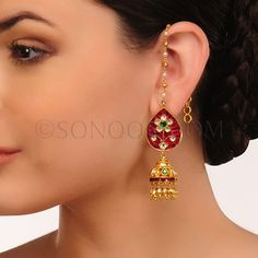 EAR/1/3440 Earrings (Jhumki) in dull gold finish studded with kundan, jade, and meena kari	 $98 £58
