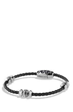 Men's David Yurman 'Frontier' Bead Bracelet in Black - Silver/ Black