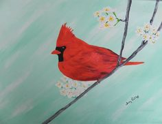 Acrylic+Painting+of+Cardinal+Redbird+and+by+ArtTherapybyTracy,+$43.00