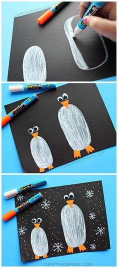 Penguins in the dark craft for kids to make! Great for winter time using fun cha. - Penguins in the dark craft for kids to make! Great for winter time using fun chalk markers Winter Art Projects, Winter Kids, Crafts For Kids To Make, Christmas Crafts For Kids, January Crafts, Chalk Markers, Theme Noel, Winter Theme, Preschool Crafts