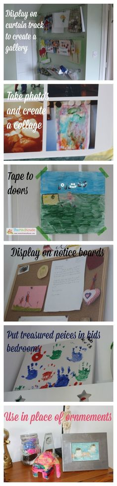 ways to display artwork within your home via The Mad House.  Great ideas Creative Arts And Crafts, Fun Crafts For Kids, Craft Activities For Kids, Projects For Kids, Art Projects, Displaying Kids Artwork, Artwork Display, Fingerprint Art, Things To Do With Boys