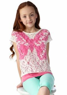 DKNY  Lace Butterfly Top Girls 7-16