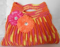 Crochet Tote Bag - RESERVED for TERESA - Fun Terrifically Textured Tote, via Etsy.