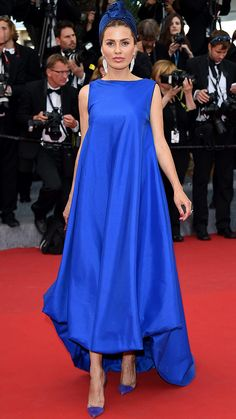 Best Dressed: Victoria Bonya in royal blue turban + dress at the red carpet during Cannes Film Festival 2015.More Cannes 2015.