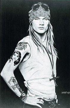 Print of Axl Rose of Guns n Roses Charcoal Art by Bradford J Salamon.