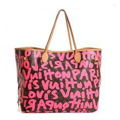 LOUIS VUITTON Monogram Stephen Sprouse Graffiti Neverfull GM Fuchsia ❤ liked on Polyvore featuring bags, handbags, tote bags, monogrammed tote bags, monogram handbags, monogram tote, fuchsia purse and fuschia handbag