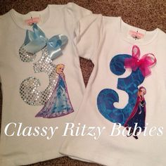 FROZEN Inspired birthday shirt. Elsa and Anna by Classyritzybabies, $24.00