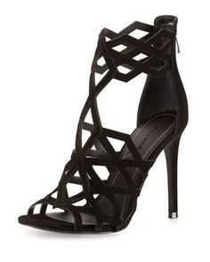 Elena+Strappy+Cutout+Sandal,+Black+by+Kendall+++Kylie+at+Neiman+Marcus.