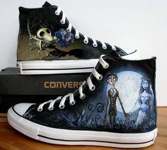 Custom Hand Painted Converse Shoes Corpse Bride by BeressyArt