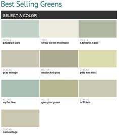 Best selling greens (Benjamin Moore). I have the wythe blue in my bath/laundry, LOVE it.