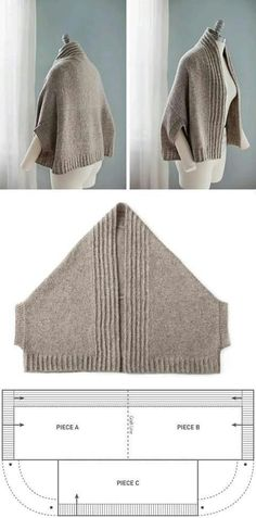 "Vest-poluponcho (patrón) / punto / ""Love this pattern! Adapt to sew, or your favorite knit or crochet stitch…"", ""nice easy shape with a nice warm result Knitting Patterns, Sewing Patterns, Crochet Patterns, Crochet Ideas, Knit Or Crochet, Crochet Shawl, Crochet Stitch, Easy Crochet, Beginner Crochet"