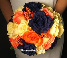 Navy, Grey and Orange Wedding. So doing this for my wedding. Wedding Flower Pictures, Blue Wedding Flowers, Orange Wedding, Fall Wedding Colors, Autumn Wedding, Wedding Color Schemes, Wedding Bouquets, Dark Flowers, Orange Flowers