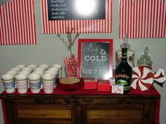 Hot Cocoa Bar at a Red and White Holiday Party.  See more party ideas at CatchMyParty.com.  #holidaypartyideas
