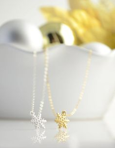 Tiny Snowflake Necklace  Silver necklace with by OliveYewJewels, $34.00