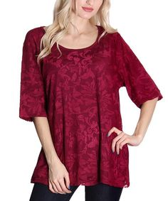 Look what I found on #zulily! Red Floral Half-Sleeve Tunic by Flawless #zulilyfinds